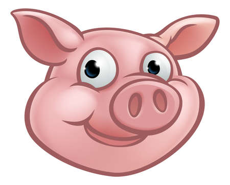 A cute cartoon pig character mascot, vector  illustration. Stock Illustratie