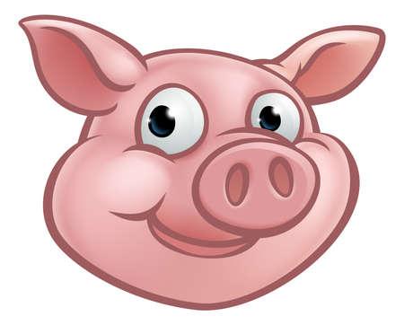 Ein nettes Karikaturschweincharakter-Maskottchen, Vektorillustration.