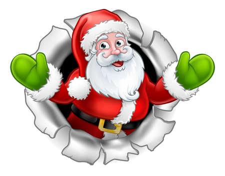 Santa Cartoon Tearing door een achtergrond