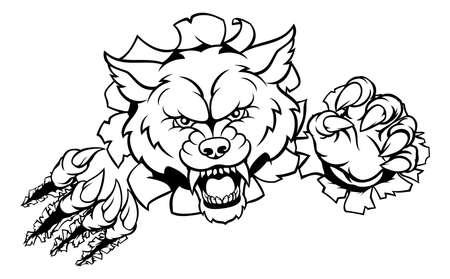 Ein wütendes Tier des Wolfs trägt Maskottchen mit seinen Greifern zur Schau.