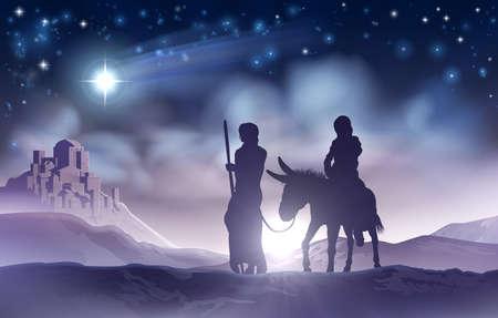 Geboorte van Christus Kerstmis Illustratie Maria en Jozef