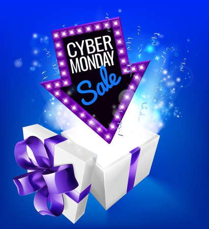 Cyber Monday Sale Gift Exploding Sign Stok Fotoğraf
