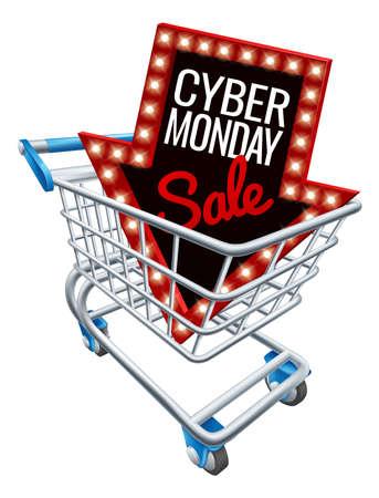 Sinal de carrinho de compras de venda de segunda-feira Cyber Foto de archivo - 89400372