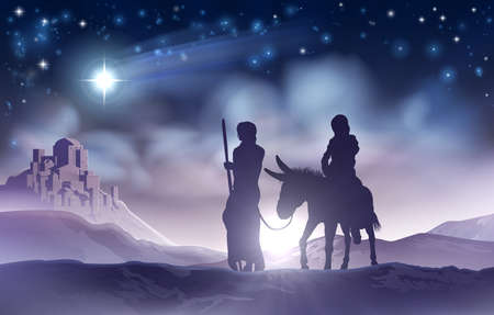 Nativity Christmas Illustration Mary and Joseph
