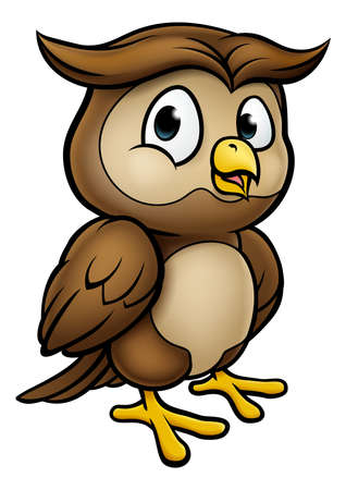 Cartoon Owl Character Vector illustration.