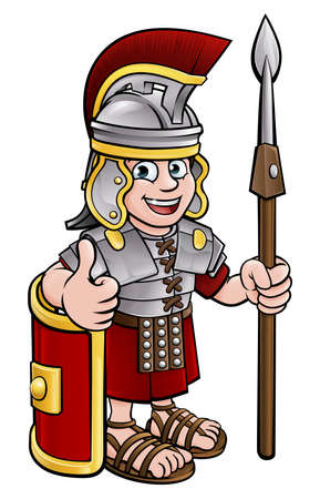 Cartoon Character Roman Soldier 일러스트