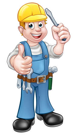 An electrician handyman cartoon character holding a screwdriver and giving a thumbs up 向量圖像