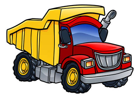 Cartoon dump tipper truck lorry construction vehicle illustration