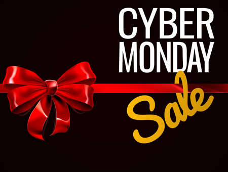 A Cyber Monday Sale sign with a red gift or present ribbon and bow Çizim