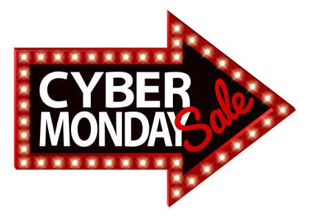 Cyber Monday sale arrow sign.