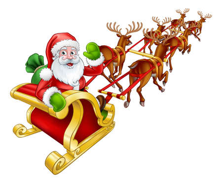 Santa Claus christmas reindeer and sleigh.