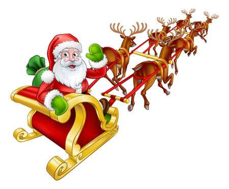 Weihnachtsmann-Weihnachtsren und -schlitten.