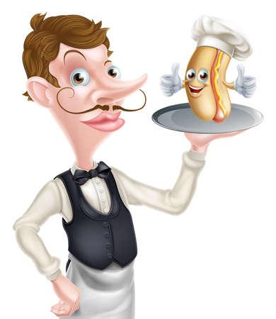 Cartoon Hotdog Waiter Иллюстрация