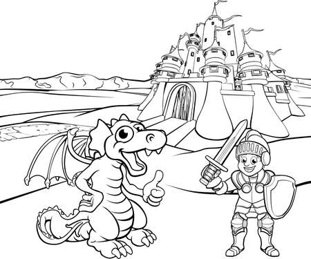 Dragon and Knight cartoon. 向量圖像