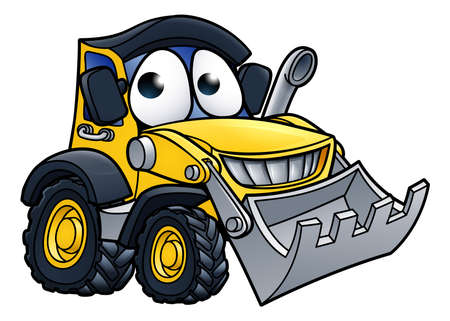 Cartoon Character Digger Bulldozer