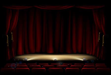 Theatre Stage with Theater Curtains Illustration