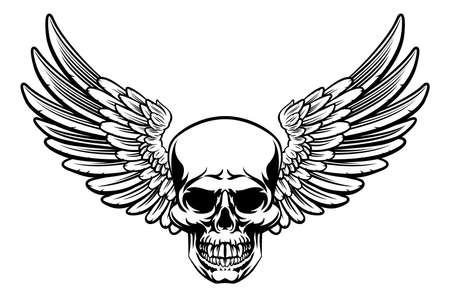 Magere Hein schedel met vleugels tekenen Stock Illustratie