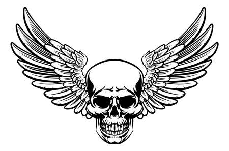 Grim reaper skull with wings drawing