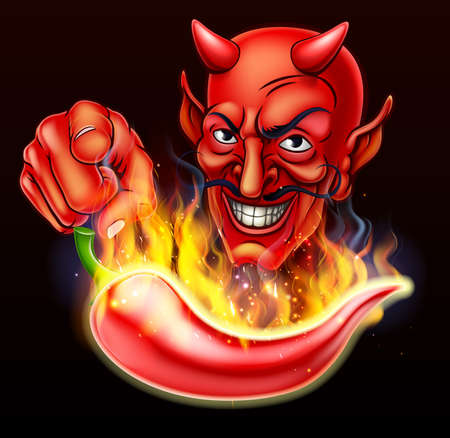 Flaming Hot Pepper and Pointing Devil Illustration