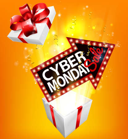 Cyber Monday Sale Exploding Gift Sign Иллюстрация