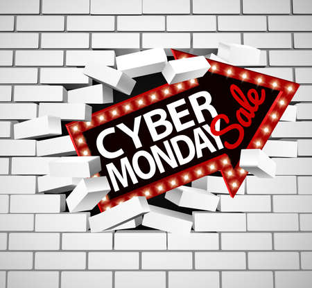Cyber ??Monday Sale Sign Rompiendo a través de la pared Foto de archivo - 89755455