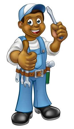 Black Cartoon elektricien klusjesman schroevendraaier Stock Illustratie