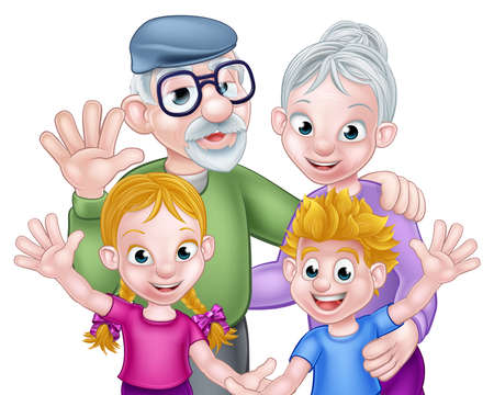 Cartoon Grandparents and Grandchildren