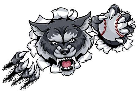 Wolf Baseball Mascot Breaking Background Banco de Imagens - 90103581