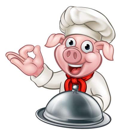 Pig Chef Cartoon Character Vettoriali