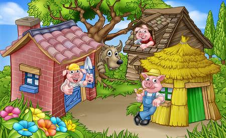 De sprookjesachtige scène van de drie biggetjes Stockfoto - 90315948