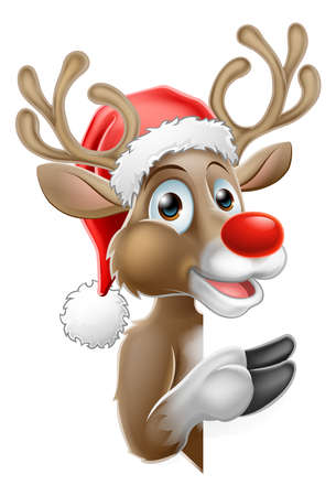 Reindeer in Santa Hat Pointing from Behind Sign Illustration