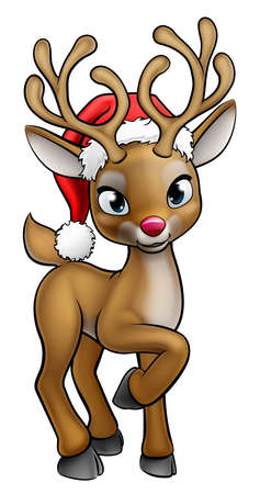 Santa Hat Cartoon Christmas Reindeer Stockfoto - 90339722