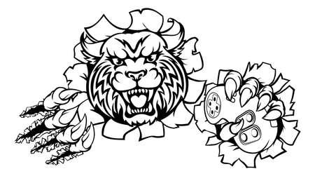Wildcat or Bobcat Esports Gamer Mascot 일러스트