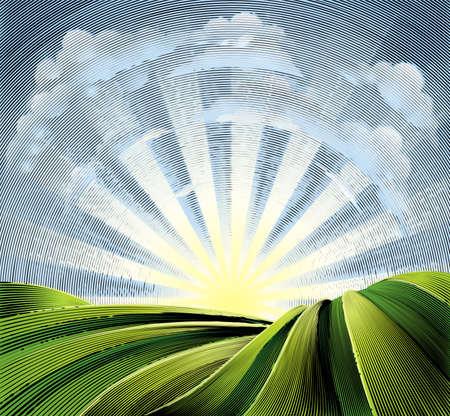 なだらかな丘陵と太陽のフィールドにエッチングが刻まれています。