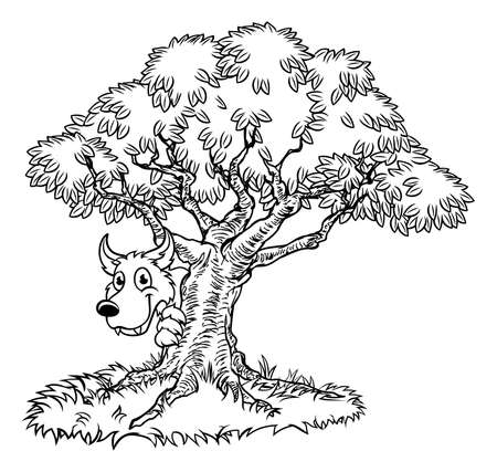 Fairytale Big Bad Wolf and Tree Cartoon