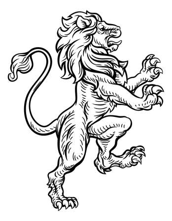 Lion Heraldic Style Drawing