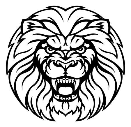 Lion Sports Mascot Angry Face