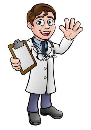 Een arts stripfiguur houden een klembord en zwaaien.