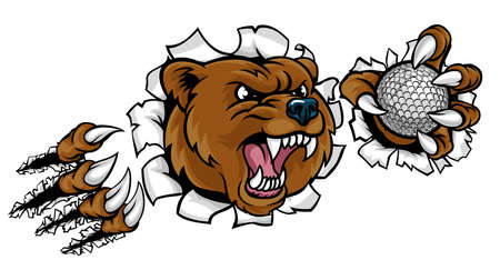 A bear angry animal sports mascot holding a golf ball and breaking through the background with its claws.