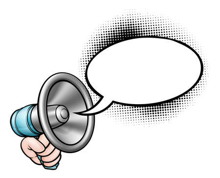 A hand holding a bullhorn or megaphone and speech bubble comic book illustration.