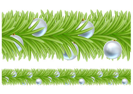 Christmas tree baubles wreath garland design. Illustration