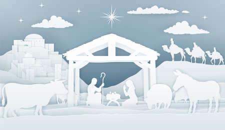 Nativity Christmas Christian scene, vector illustration.