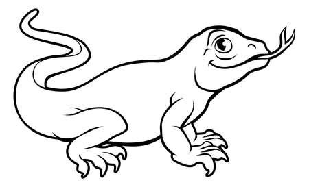 An illustration of a komodo dragon lizard, cartoon character.