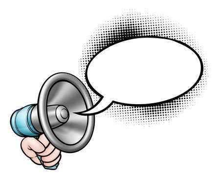 Cartoon speech bubble megaphone, vector illustration. Standard-Bild - 90656163