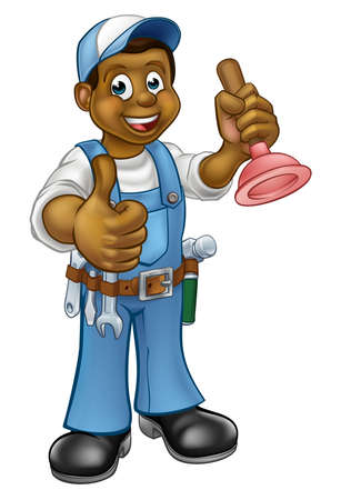 A plumber handyman cartoon character holding a plunger and giving a thumbs up.