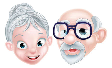 Elderly couple senior citizen pensioner grandparents OAP older couple man and woman cartoon characters Stock Photo - 90781504
