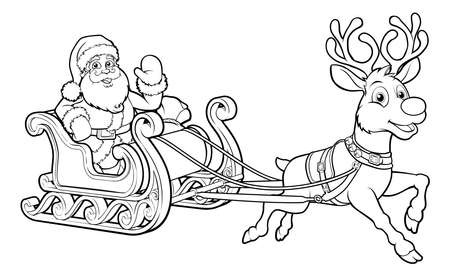 Santa Claus and his flying Christmas sleigh sled and reindeer Imagens - 90599755