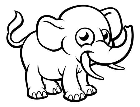An elephant safari animals cartoon character outline coloring drawing