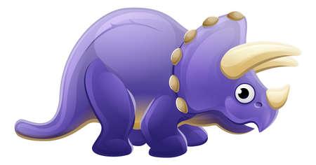 A cute Triceratops cartoon dinosaur character