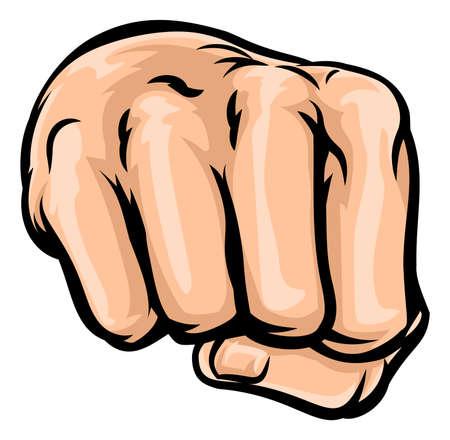 A pop art comic book style cartoon hand in a fist